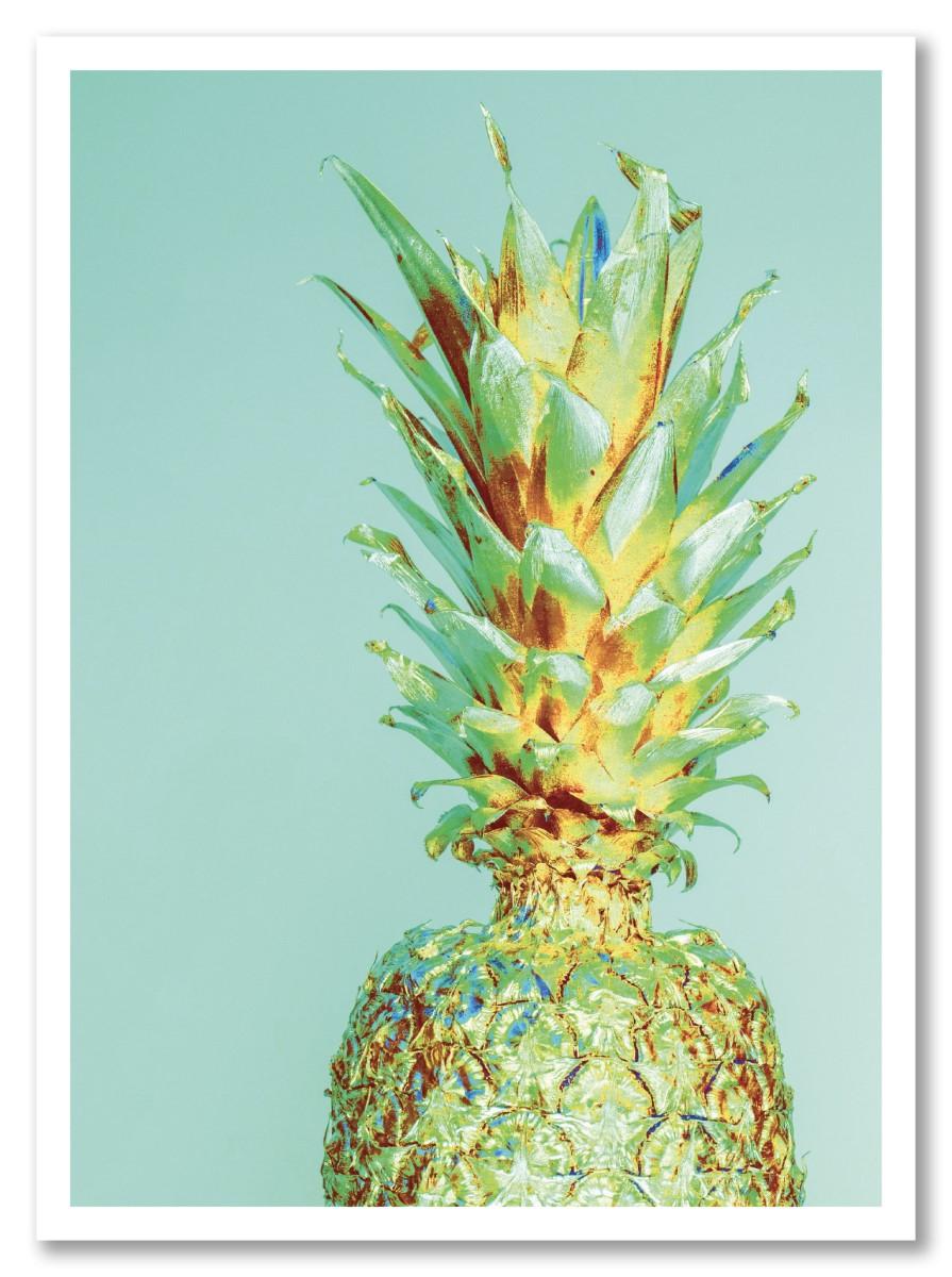 Ananas - Rétro Or et Bleu