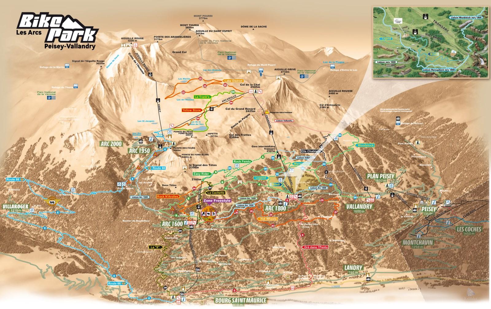 plan VTT descente Les Arcs