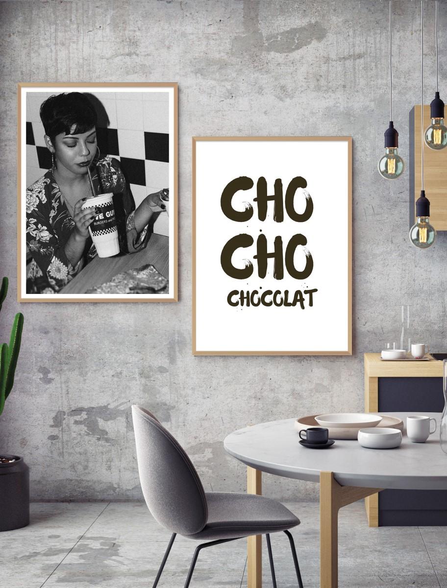 Cuisine - Duo de cadres en bois sur mur ciré