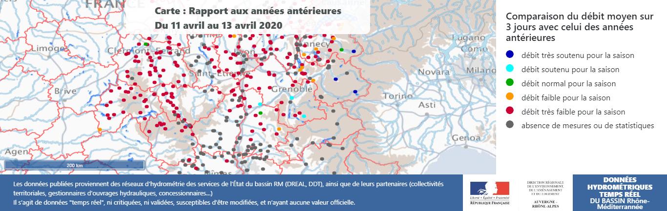 Comparaison des débits des rivières avec les années antérieures