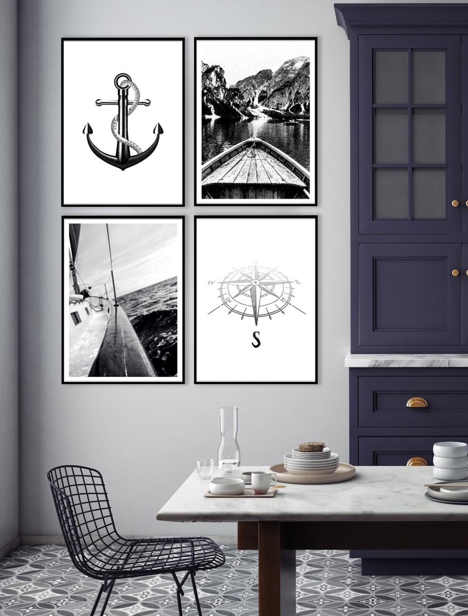 Cuisine - Quatuor de cadres noir mur blanc