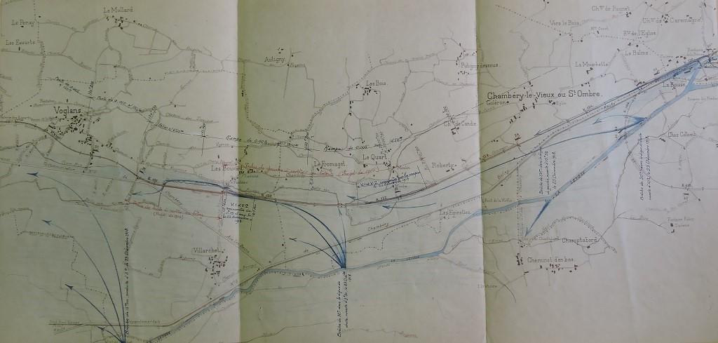 Vue en plan des débordements de la crue de 1918