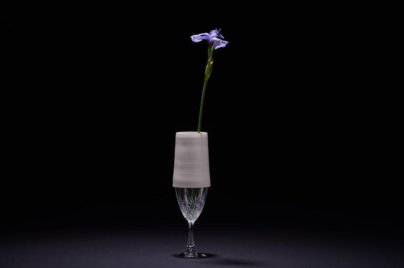 Vase en porcelaine et verre vintage 1
