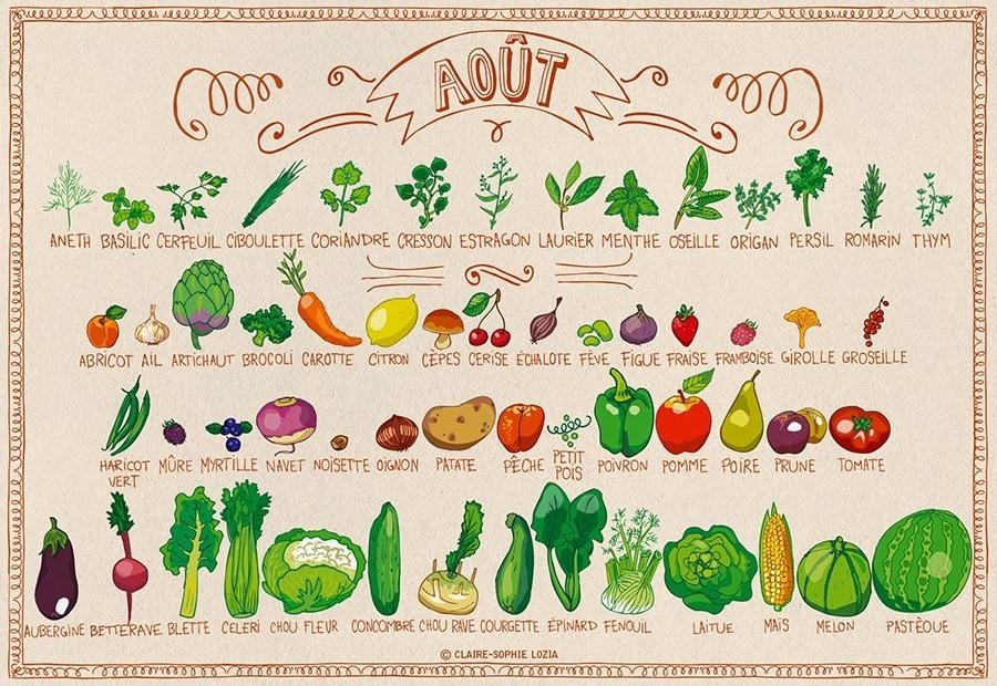 Les fruits & légumes de saison du mois d