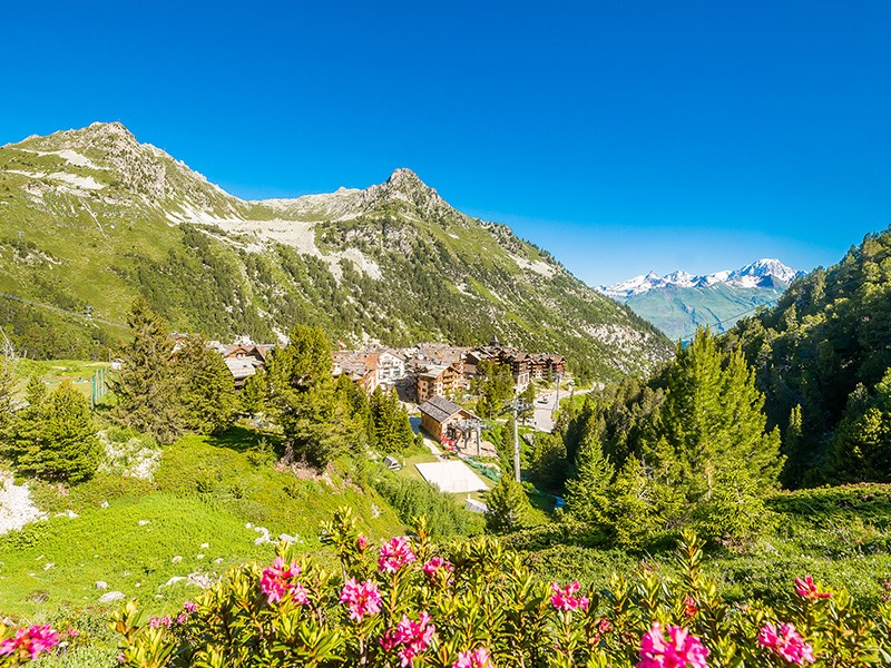 Summer in an luxury resort in the French alps.