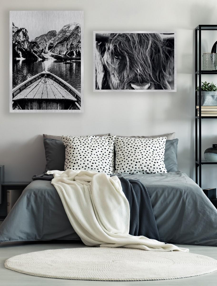 Chambre - Duo tableaux en aluminium brossé