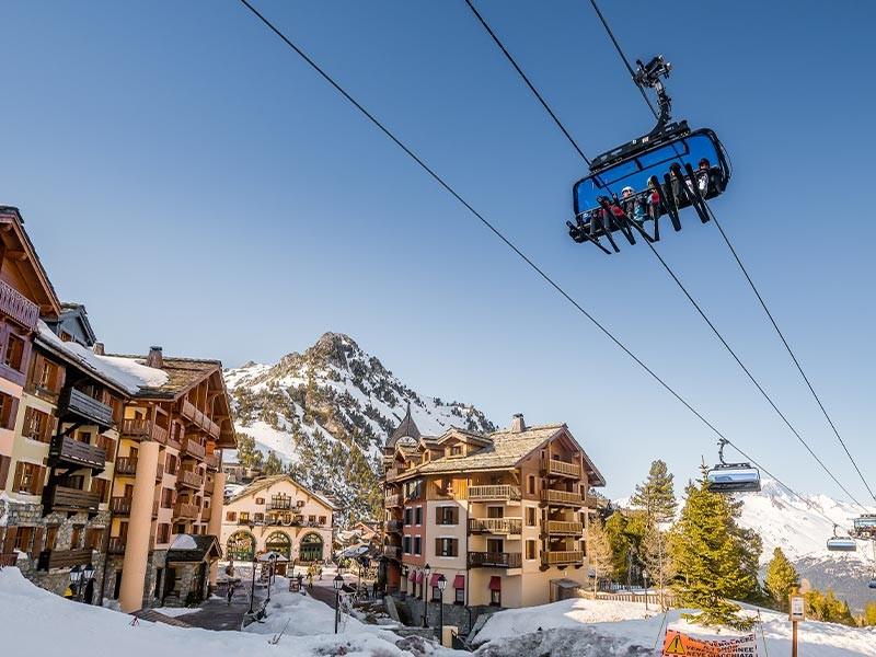 Paradiski skiing area in winter in Les Arcs Family holidays