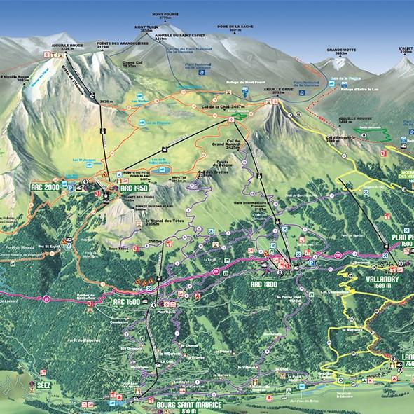 randonnées à Arc 1950 et aux Arcs - plan des sentiers