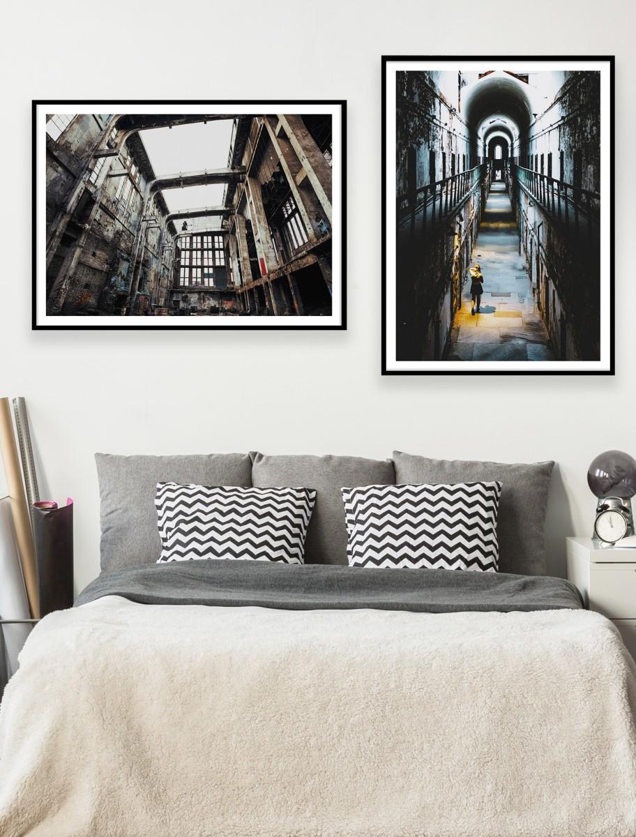 Chambre - Duo de cadres noir mur blanc