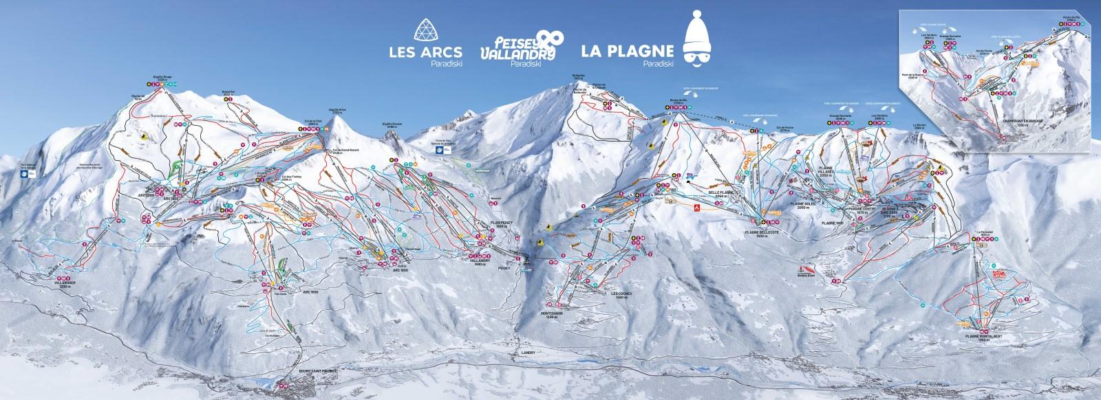 Découvrez la carte du domaine skiable Paradiski